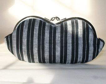 Black White Stripe Linen, a sunglass case, eyeglass or smartphone case