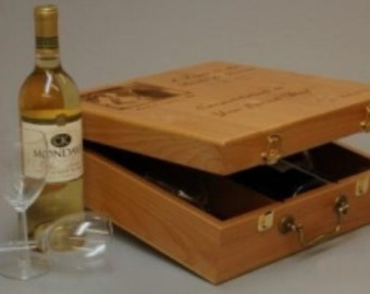 Personalized Wine Box - Custom Wood Wine Box Made in USA, Colorado, with three partitions for Anniversary and Wedding Gifts