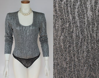 SALE - 70s/80s - Disco - Glam - Metallic Silver - Zebra - Black Lace - Fitted - Long Sleeve - Bodysuit