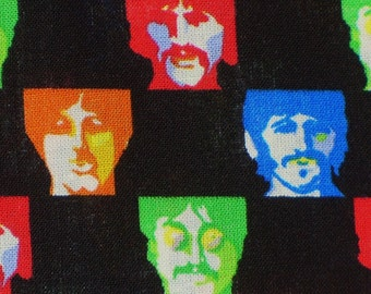 Beatles Fabric,  Andy Warhol Style, Beatles Faces, John Paul George Ringo,  By the Yard