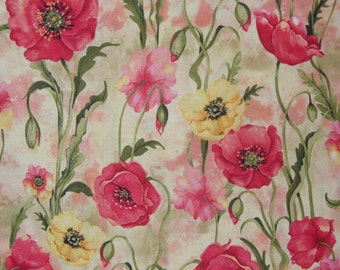 """Poppies Fabric / Watercolor Style  / 1 Yard 12"""" / Coral, Peach, and Yellow Poppies"""