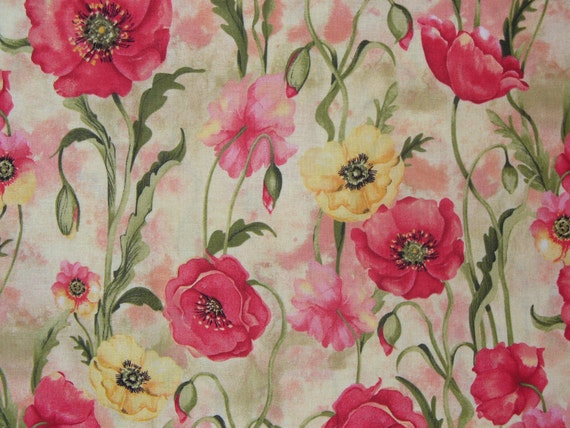Poppies Fabric Watercolor Style 1 Yard By