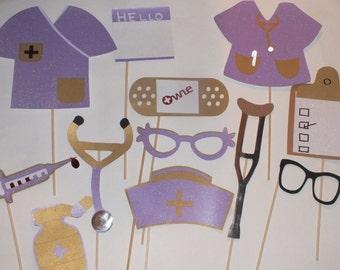PHOTO BOOTH PROPS:   nursing theme purple and gold 12pcs. hospital photo booth props, purple and gold, scrubs, pill bottle, nurse hat  props
