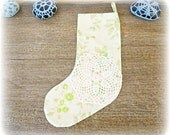 Green Christmas Stocking. Vintage Fabric Floral Flowers Doily Green Lime White Home Decor Shabby Chic Rustic Retro