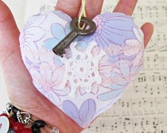 SALE Boho Heart Ornament Bowl Filler Vintage Key To My Skeleton Key Purple Blue White Pink Doilies Crochet Pin Cushion Shabby Chic Rustic