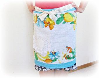 SALE Aqua Half Apron Linen Tea Towel Vintage Doily Blue White Fruit Yellow Orange Tropical Domum Vindemia Retro Kitsch Mad Men