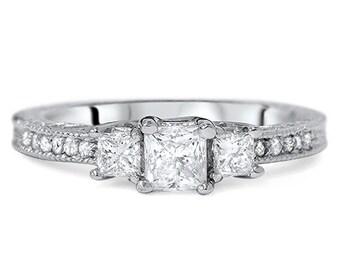Princess Cut Diamond Engagement Ring 1ct 3-Stone Princess Cut Diamond Vintage Ring White Gold Princess Cut Diamond Antique Unique Style Ring