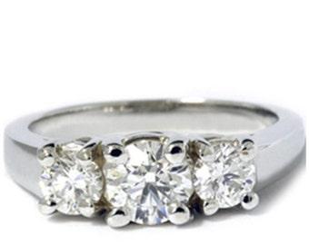 Diamond 1.40CT Three Stone Ring 14K White Gold