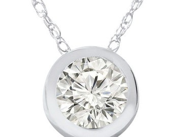 SI .25CT Round Brilliant Cut Bezel Diamond Solitaire Pendant