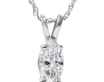 1.00CT Marquise Diamond Solitaire Pendant 14K White Gold, Marquise Diamond, Solitaire Pendant, 14k White Gold