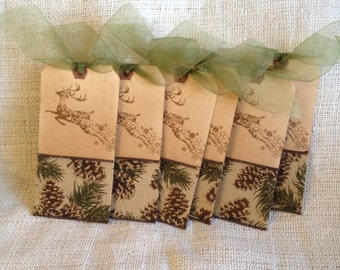 Vintage Styled Large Aged Reindeer Christmas Gift Tags