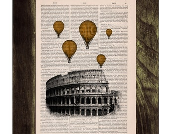Yellow Gold colored balloons over Rome .Vintage Book Print - Rome Colosseum Balloon Ride Print on Vintage Book art TVH036