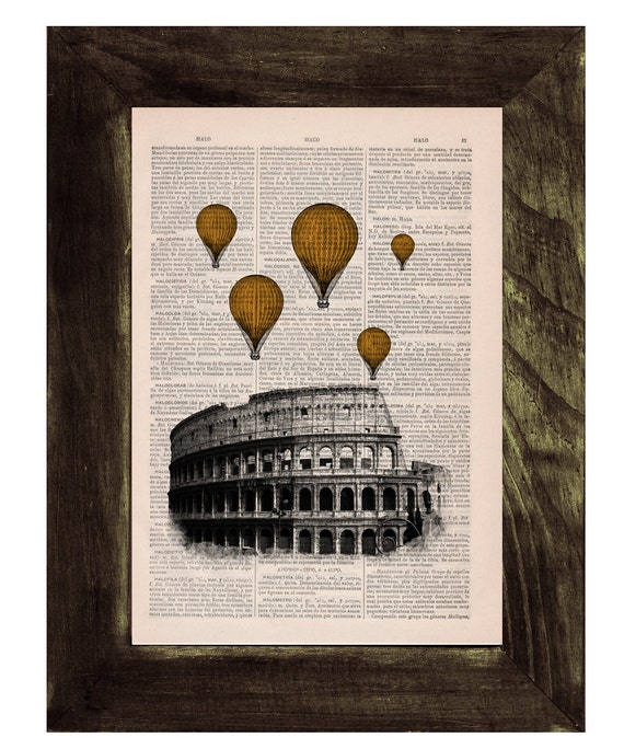 Spring Sale Yellow Gold colored balloons over Rome .Vintage Book Print - Rome Colosseum Balloon Ride Print on Vintage Book art BPTV036