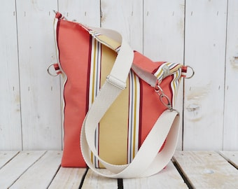 Canvas Beach Bag, Striped cross body messenger, nautical beach bag, unique gift for women, Gift for Valentines Day, eco friendly bag