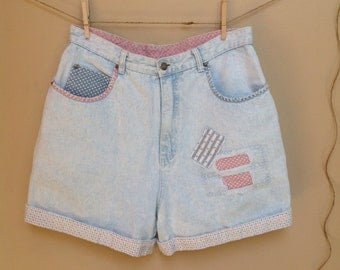 Size 14 Vintage High Waist Denim Shorts, Shabby Chic Patchwork Shorts Pastel Pink and Blue Retro 90's Denim  Shorts