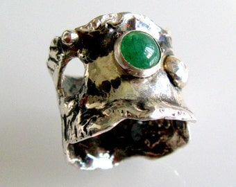 Moon Craters Shapes Sterling Silver Ring with Aventurine - Handmade Jewelry - OOAK