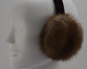 Brown Russian Sable Fur Earmuffs new made in usa
