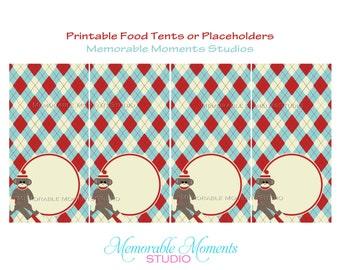 INSTANT DOWNLOAD - Printable Food Tents - Sock Monkey Party - Memorable Moments Studio
