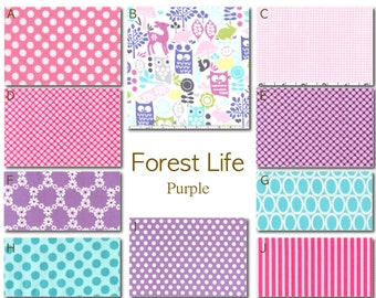 Crib Bedding- Design Your Own Baby Bedding- Forest Life-Purple