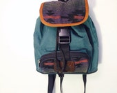 Aztec print jansport la gear grunge boho green mini backpack zippers and ties 90's option of one or two straps throwback