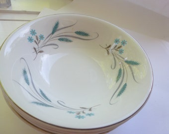 Johnson Bros Snowhite Bowls 4 Johnson Bros Bowls Made in England Silver and Turquoise Flower Pattern