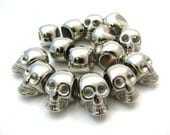 5 Large Silver Acrylic Skull Beads - 20x15x13mm, Large Hole, Great Spacers, Lightweight & Shiny