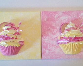 Pink Lemonade Fake Cupcakes On Canvas for Kitchen Decor, Bakery Cupcake Shop Displays, Sweet Shop Decorations, 8x10 Cupcake Wall Art