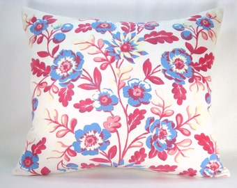 Decorative Lumbar Pillow Accent Pillow Red White and Blue Pillow Cottage Chic Pillow Upcycled Pillow Vintage Pillow 15x17 Pillow Cover