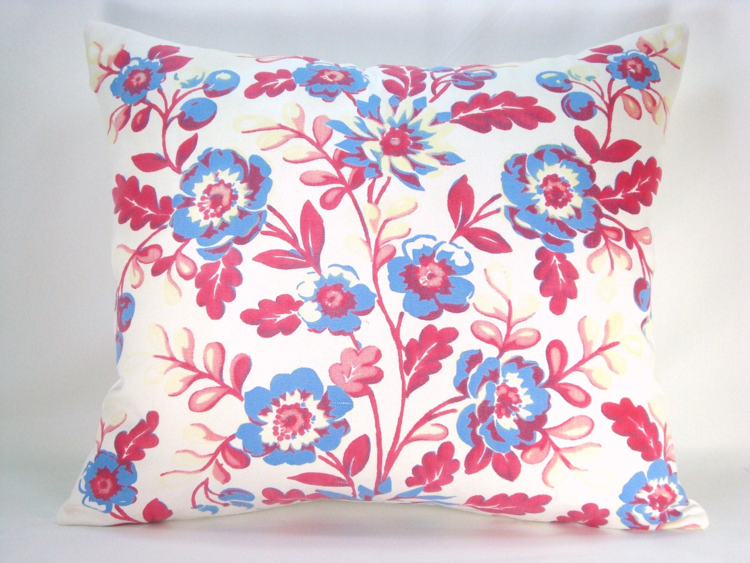 Decorative Lumbar Pillow Accent Pillow Red White and Blue