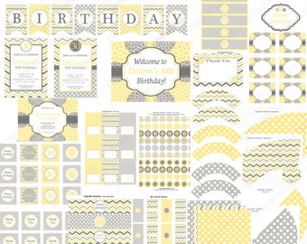 DIY Sunshine Bloom Party  PRINTABLE Deluxe Package yellow grey chevron polka dots