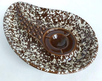 Stanford Sebring Ashtray Brown and White Speckled Ceramic Pottery Mid Century Mod Decor