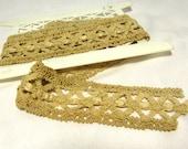 Vintage Trim Wide Embroidered Beige 1 Yard Lovely Design 1920s for Decor