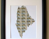 Maine recycled postage stamp map