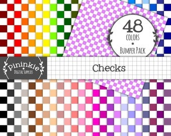 48 Check Digital Paper Checker Scrapbook Papers 12x12, Commercial Use (CU), Instant Download