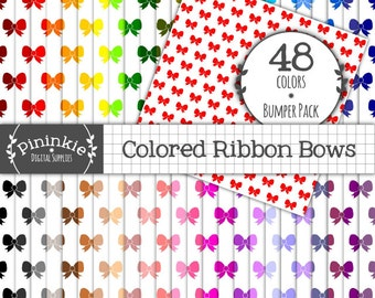 Digital Paper Bows, Digital Scrapbook Paper Ribbons, Patterned Paper, Photo Background, Printable Paper, Instant Download, Comm