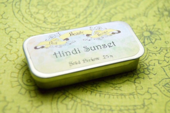 Hindi Sunset Solid Perfume - Perfume Crème Tin - Nag Champa, Rose, Bergamot