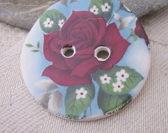 Dark Red Rose Motif Ceramic Button