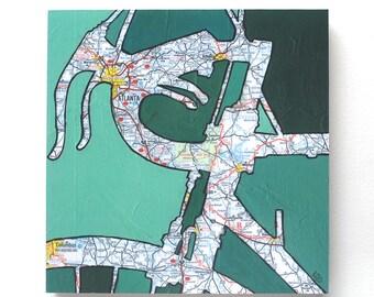Atlanta mounted print -bike art featuring Atlanta, Marietta, Columbus, Athens, Norcross, Roswell, Decatur, bicycle art on wood