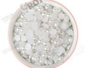 10MM - White Pearl Flatback Decoden Cabochons,  Half Pearl Cabochons, Flat Pearls, 10mm Flat Back Pearls, Embellishment (R4-085)
