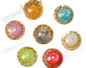 Mixed 15mm Fancy Gold Chain Resin Gumball Beads, Resin Round Beads, Unique Beads, Gold Chain Beads, 15mm, 3mm Hole (R8-241)