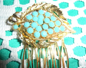 Authentic Vintage Large So So Beautiful Faux Turquoise Gold Hair Comb