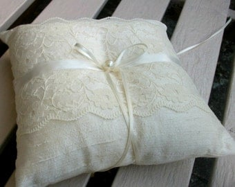 Wedding Ring Bearer Pillow in Ivory Raw Silk With a Strip of Cream  Lace