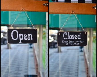 Open/Closed Sign for Businesses, Salons, Cafes, Boutiques, 12x6 - Hanging, Distressed, 2 sided