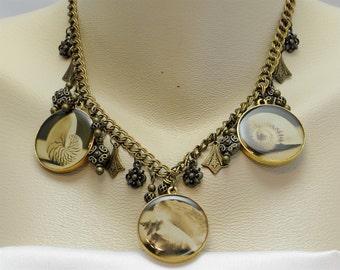 Vintage Victorian Steampunk Seashore Cameos Sepia Tone Ocean Sea Shells Pendant Necklace