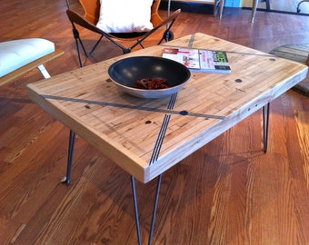 Coffee Table - Reclaimed Maple W /Striking Blue Inlay