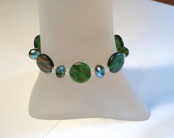 Green Czech Glass and Swarovski Crystal Bracelet, Green Glass Bracelet, Czech Glass Bracelet