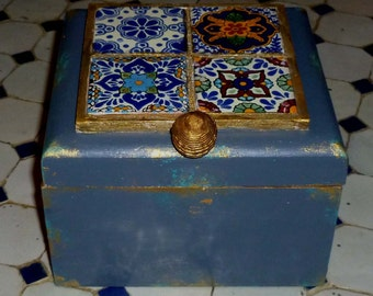 Moroccan inspired Box made with tiles, keepsake box,, jewelry box, wedding gift