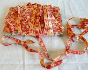 Antique Vintage French Church Priest Vestment Ribbon Trim 3 yds Woven Coral Red Yellow Cross Motif France Religious Textile