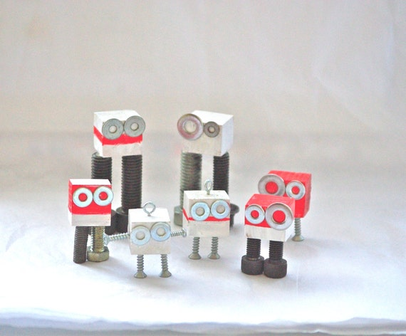 Christmas Robots set of 7 desk and tree ornaments xmas ornaments holiday decorations decoration modern industrial bots