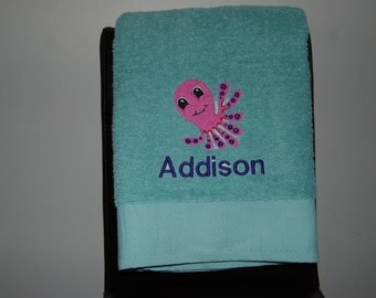Personalized, Embroidered Bath Towel -octopus 2